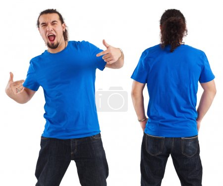 Photo for Photo of a male in his early thirties pointing at his blank blue shirt. Front and back views ready for your artwork or designs. - Royalty Free Image