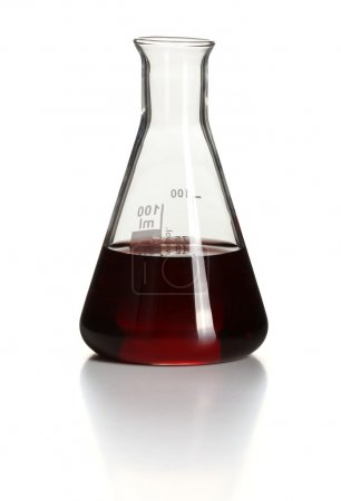Erlenmeyer flask with red chemical inside
