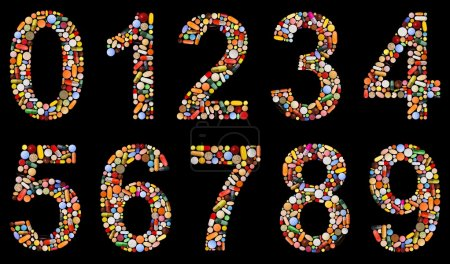 Numbers 0 to 9 made of assorted pills