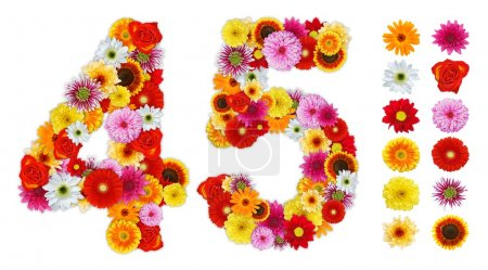 Numbers 4 and 5 made of various flowers