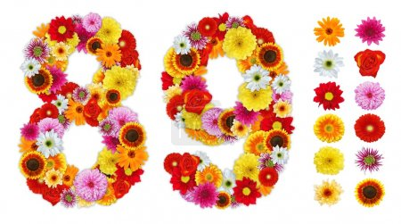 Photo for Numbers 8 and 9 made of various flowers. Standalone design elements attached - Royalty Free Image