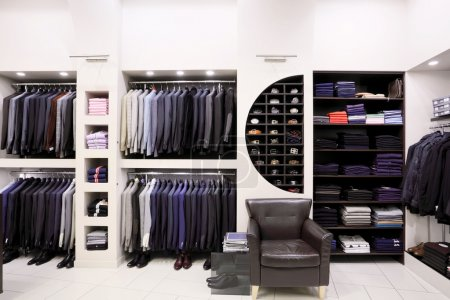 Stylish men's clothes in shop