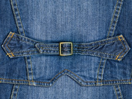 Blue denim with strap and yellow metal clasp