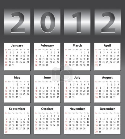 Stylish calendar for 2012