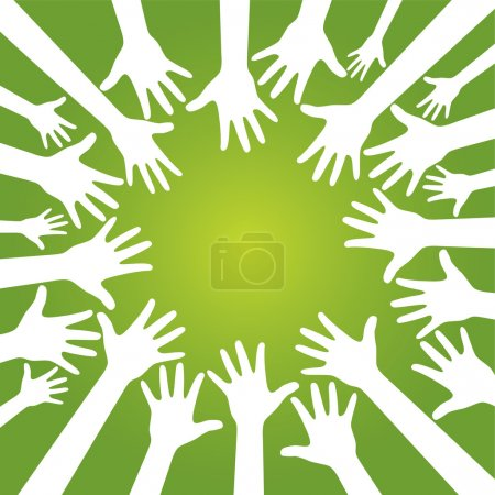 Illustration for Hands in team on olive green background. vector. - Royalty Free Image