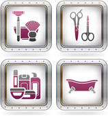 Bathroom theme icons set covering everyday objects from flush toilet to stall shower (part of the 2 Colors Chrome Icons Set)