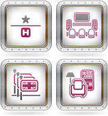 Various camping icons: 1 Star Hotel TV Room English-speaking staff available Reading Room (part of the 2 Colors Chrome Icons Set)