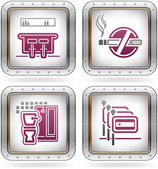 Various camping icons: Hotel Bar No Smoking Rooms Bathroom with Shower Spanish-speaking staff available (part of the 2 Colors Chrome Icons Set)
