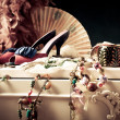 Womans dressing table with lot of fashion accessor...