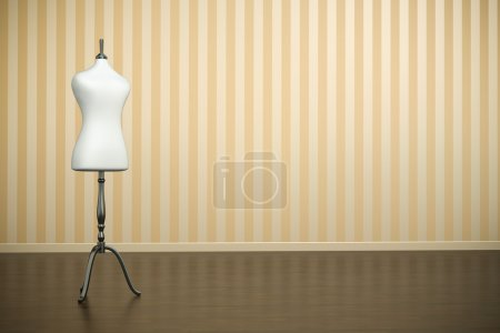 Photo for Empty old-fashioned interior with white clothing mannequin. 3D render. - Royalty Free Image