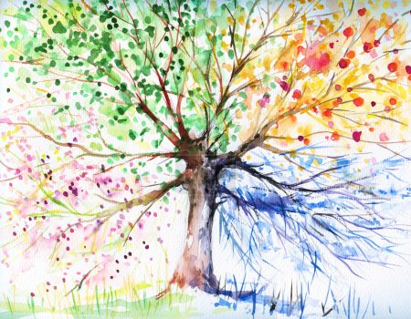 Photo for Hand painted illustration of four seasons tree.Picture I have created with watercolors. - Royalty Free Image