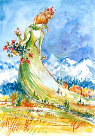 Photo pour Femme en robe verte.Je me suis peint avec des aquarelles . - image libre de droit