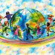Children of different races hugging the planet Ear...