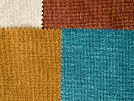Photo pour Texture de quatre échantillons de couleur de tonalité de la terre Fabrec - image libre de droit
