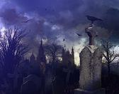 Noční scéna v strašidelný hřbitov