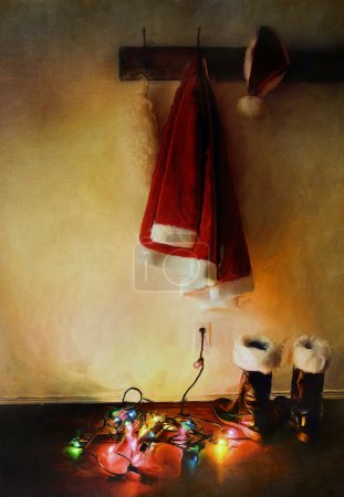 Santa costume hanging on coat hook with christmas lights