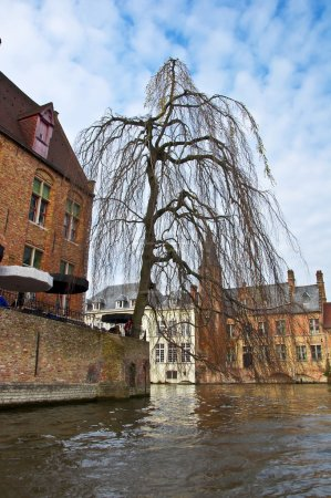 Classic view of channels of Bruges.