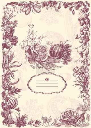Illustration for Highly detailed hand drawn vegetable frame. - Royalty Free Image