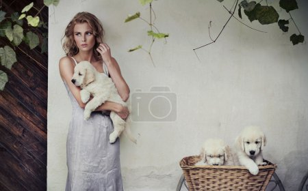 Young beauty and puppies in basket