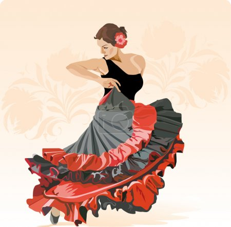 Illustration for Girl dances fiery Flamenco - Royalty Free Image