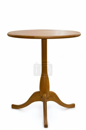 Photo for Wooden round table over white background - Royalty Free Image