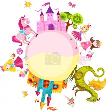 Photo pour Vector illustration d'un jeu de princesse - image libre de droit
