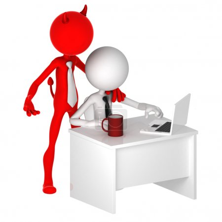 Photo for Devil standing behind office worker. Unfair business concept. Isolated - Royalty Free Image