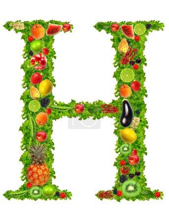 Obst und Gemüse Buchstabe h
