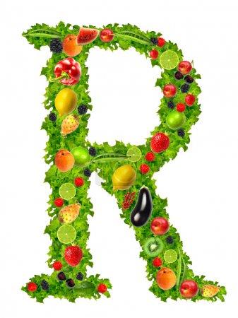 Obst und Gemüse Buchstabe r