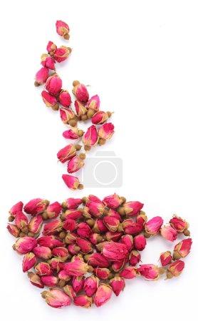 Photo pour Tas de roses en forme de coupe et de la vapeur isolé sur fond blanc. - image libre de droit