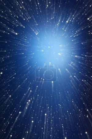 Photo pour Contexte abstrait. Points de lumière volant vers l'infini . - image libre de droit