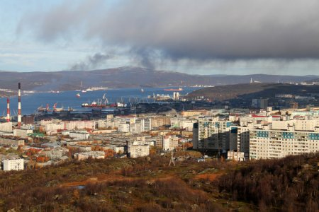 General view of downtown in Murmansk, Russia...