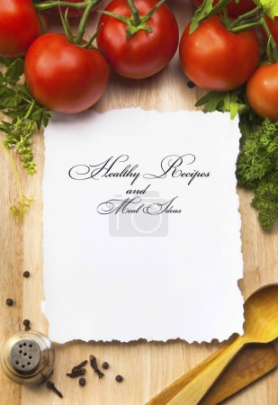 Photo for Fresh vegetables and spices on the wooden background and paper for notes - Royalty Free Image