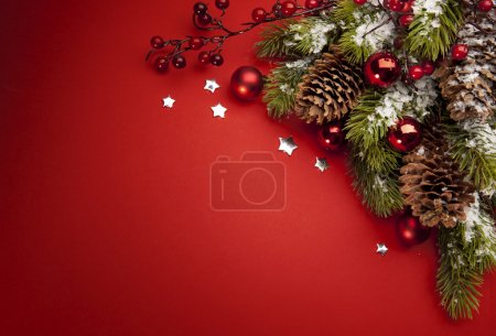 Photo for Art Christmas tree and holiday decoration on a red background - Royalty Free Image