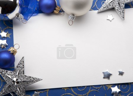 Photo for Vintage Christmas decorations and paper note on a blue background - Royalty Free Image