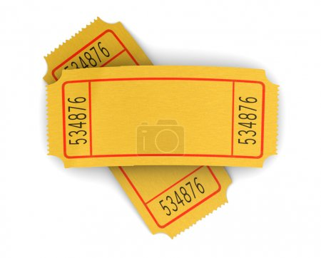 Photo pour 3d illustration of two blank cinema tickets, over white background - image libre de droit