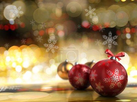 Photo pour Abstract illustration 3d du fond de Noël avec des lumières - image libre de droit