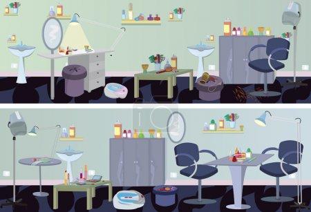 Illustration pour Salon de beauté bannière meubles et appareils - image libre de droit