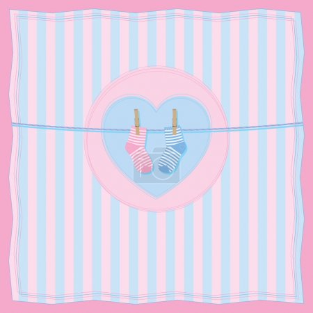 Illustration for Vector illustration of baby card with clothesline and baby socks. All vector objects and details are isolated and grouped. - Royalty Free Image