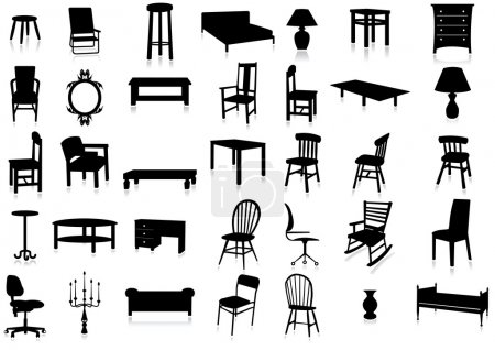 Illustration for Set of furniture silhouettes with reflection effect. All vector objects are grouped. Colors are easy to adjust. - Royalty Free Image