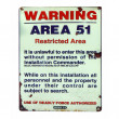 Vintage Area 51 warning sign isolated over white...