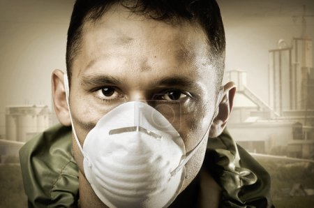 Portrair of Sad man in breathing mask