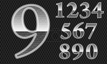 Illustration pour Numéros de verre, lettres de a à z, ilustration vectorielle - image libre de droit