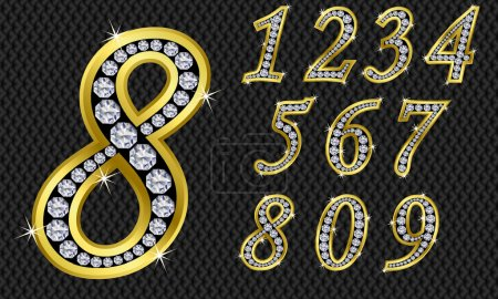 Number set, from 1 to 9, golden with diamonds