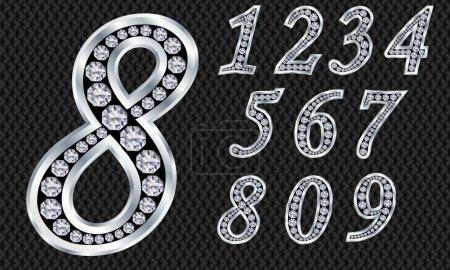 Illustration pour Nombre fixé, de 1 à 9, argent avec diamants - image libre de droit