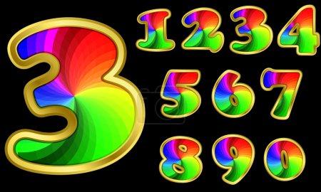 Illustration pour Alphabet coloré, lettres arc-en-ciel avec cadre doré, illustration vectorielle - image libre de droit