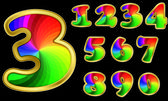 Colorful numbers rainbow numbers with golden frame vector illustration