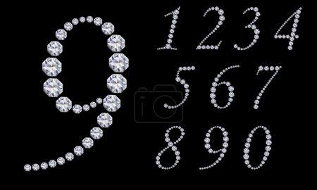 Illustration pour Numéro de diamant, de 1 à 9, illustration vectorielle - image libre de droit