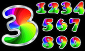 Colorful numbers rainbow numbers with silver frame vector illustration