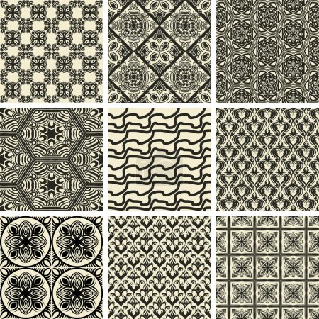Illustration for Set of nine repeating patterns in retro style - Royalty Free Image